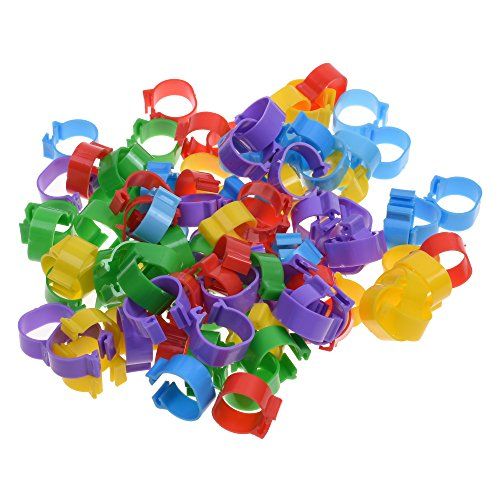 BCP 100pcs 5 Color Poultry Leg Bands Bird Chicks Ducks Chicken Clip-on Rings Size 7 (5/8inch) ()