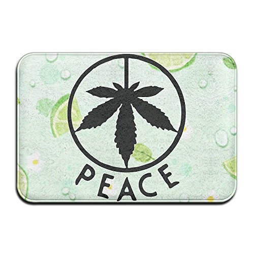 Peace Sign Weed Cannabis Leaf Durable Super Soft And Plush Non-skid No-slip Backing Imported Machine Washable Water Absorbent Door (Giraffe Peace Sign)
