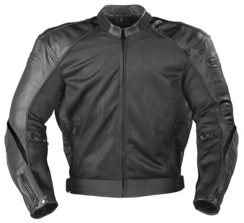 Joe Rocket Superego Men's Hybrid Leather/Mesh Motorcycle Jacket (Black, 4X-Large)