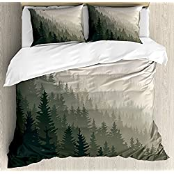 Ambesonne Forest Duvet Cover Set Queen Size, Northern Parts of The World with Coniferous Trees Scandinavian Woodland, Decorative 3 Piece Bedding Set with 2 Pillow Shams, Green Cream
