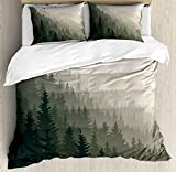 Ambesonne Forest Duvet Cover Set Queen Size, Northern Parts of the World with Coniferous Trees Scandinavian Woodland, Decorative 3 Piece Bedding Set with 2 Pillow Shams, Cream Tan Dark Green