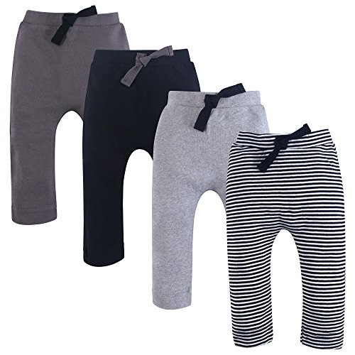 Touched by Nature Baby Organic Cotton Pants, Black and Gray 4Pk, 6-9 Months (9M)