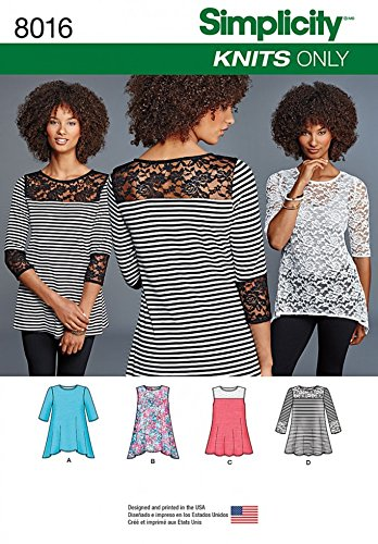 46a2ebd8689d Simplicity Ladies Easy Sewing Pattern 8016 Jersey Knit Tops in 4 Styles   Amazon.co.uk  Kitchen   Home