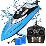 SZJJX RC Boat 20KM/H High Speed Remote Control Boats for Pools and Lakes, 2.4GHz 4 Channels Automatically 180 Degree Flipping Transmitter with LCD Screen for Kids or Adults Blue