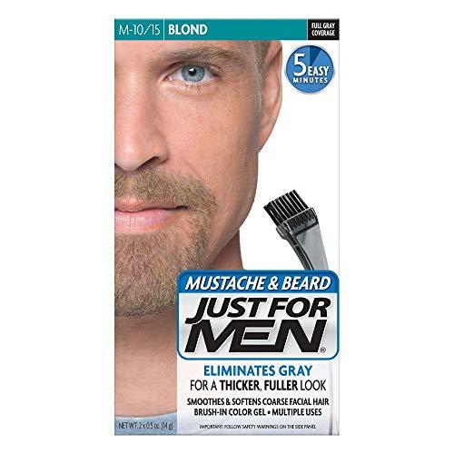 JUST FOR MEN Mustache & Beard Brush-In Color Gel, Blond M-10/15 1 Each (Pack of 4)