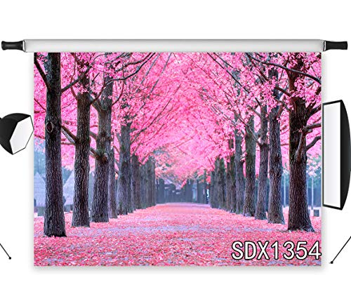 LB Spring Photography Backdrops 7x5ft Vinyl Pink Flowers Trees Gallery Photo Background Customized Kids Children Adult Portrait Photo Shoot Backdrop Props ()