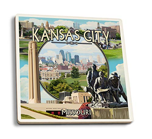 (Lantern Press Kansas City, Missouri - Montage Scenes (Set of 4 Ceramic Coasters - Cork-Backed, Absorbent))