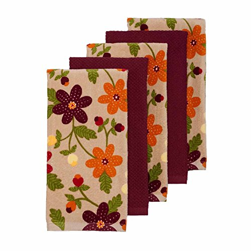 Fall Thanksgiving Harvest Kitchen Dish Towels Set of 5 by The Big One - Autumn Floral