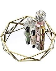 Mirrored Glass Make up Tray - Geometric Jewelry Organizer Tray Ornate Bathroom Vanity Tray Dresser Perfume Tray Home Decor Decorative Tray (Gold)