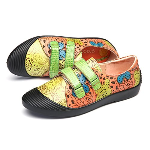 gracosy Women's Leather Loafers Flats Shoes Ladies Moccasins Boat Summer Comfort Casual Slip-On Breathable Pumps Shoes Vintage Flats Slipper Shoes Handmade Outdoor Walking Driving Shoes Orange 56HiA0g