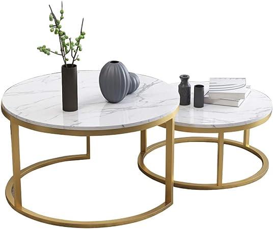 Juego de 2, Mesas Nido de anidación Modernas Mesa de café de mármol Mesa Auxiliar Mesas de Centro de té con Patas de Metal Centro o Esquina de balcón Espacio pequeño, Blanca: