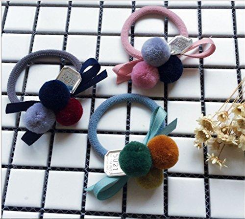 Wool Beaded Shell - Wool Felt Ball Hair Tie Bands Ropes Ponytail Holder For Girls/Women (3pc(Three Ball))