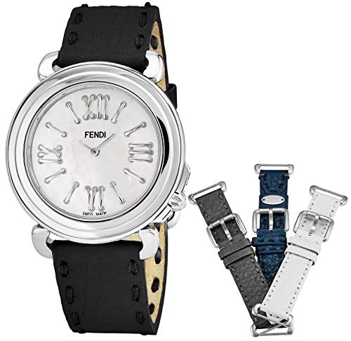Leather Fendi White (Fendi Selleria Womens Watch Set with Interchangeable Bands - 37mm Mother of Pearl Face Swiss Dress Watch for Women - Black, Grey, Blue and White Leather Bands Analog Quartz Ladies Watch F8010345H0)