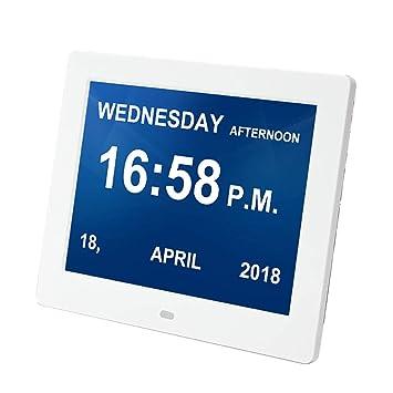 SPEUTO Reloj Despertador Digital, Calendario de Reloj electrónico 8 Pulgadas para Alzheimer y Demencia de Baja visión, fácil de Leer, Blanco: Amazon.es: ...