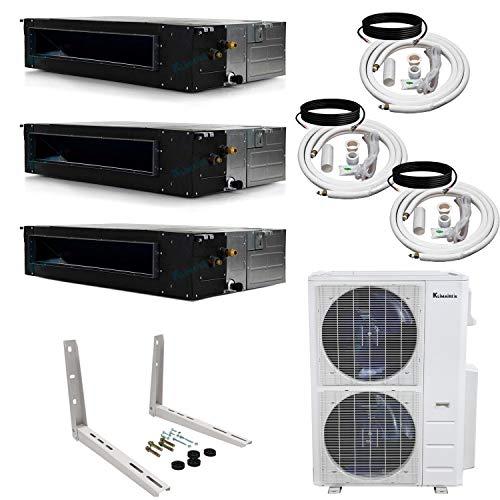 Klimaire 3-Zone (12K+18K+24K) BTU 21 SEER Ducted Recessed Multi-Zone Inverter Air Conditioner Heat Pump with 25 ft. Installation Kits (208-230V)