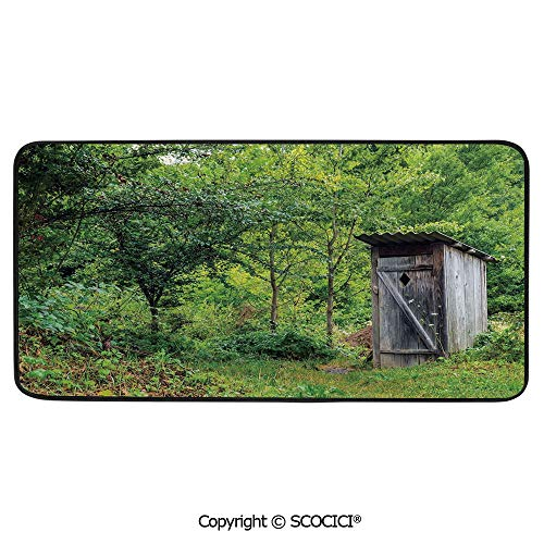 Rectangular Area Rug Super Soft Living Room Bedroom Carpet Rectangle Mat, Black Edging, Washable,Outhouse,Old Ancient Cottage Outhouse in a Spring Mountian Forest,39