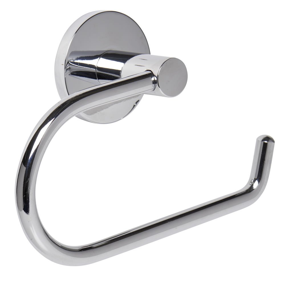 Home Treats Polished Chrome Bathroom Toilet Roll Holder Round