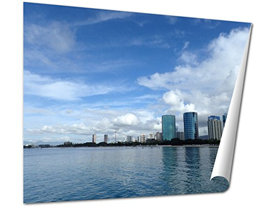 Ashley Giclee Fine Art Print, Glassy Water Of Ala Moana Beach With Condo Buildings And Constru, 16x20, - Buy Moana Best Ala