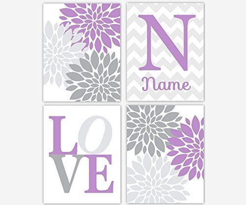 Baby Girl Nursery Wall Art Lavender Gray Purple Personalized Art Flower  Burst Girl Room Floral Wall