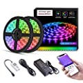 LED Strip Lights Built-in IC with App, 32.8ft/10m LED Rainbow Chasing Light, 12V 5050 RGB Waterproof 300Leds Flexible-Lighting, Dream Color Chaning Rope Lights Kit with Adhesive for Home Kitchen