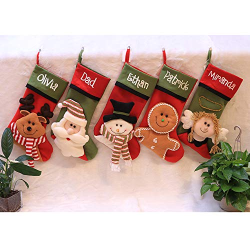 BEYOLO Christmas 3D Plush Hanging Stockings Decoration Cute Gingerbread Snowman Elk Christmas Tree Ornament Party Decoration Toys Candy Gift Bags Holders (Cookie -