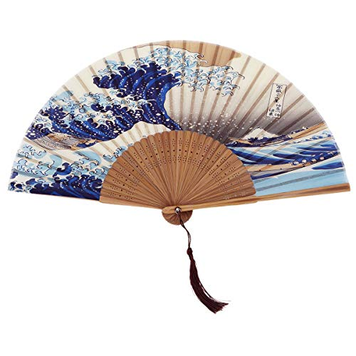 DawningView Japanese Handmade Landscape Bamboo Silk Folding Fan, Vintage Retro Style for Women Ladys Girls (Kanagawa Sea Waves) Handheld,