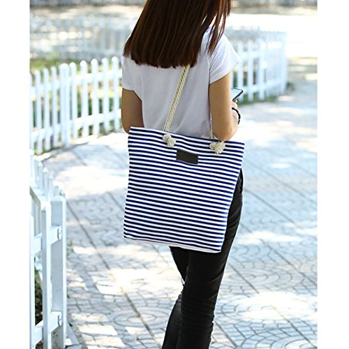 5 Stripe Millya Beach Shopping Inch 13 Shoulder Bag Travel Oversized Blue Canvas Holiday Tote wZFqxZ1HUp