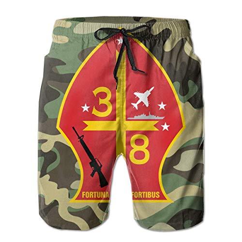 Trikahan 3rd Battalion 8th Marine Regiment Men Summer Casual Beach Shorts Quick Dry Swim Trunks with Pockets White
