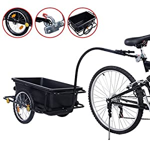 New Bike Bicycle Cargo Trailer Cart Luggage Carrier Steel Frame w/ Plastic Tank Steel