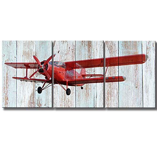 KLVOS - Modern 3 Piece Wall Art Elderly Propeller Plane Light Blue