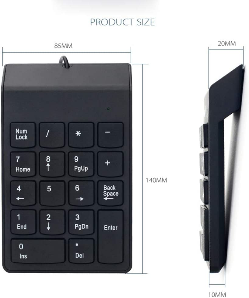 Suitable for Office Easy to Carry ZUEN Wired Numeric Keypad Black 18 Key Chocolate Mini Keyboard Waterproof Calculation