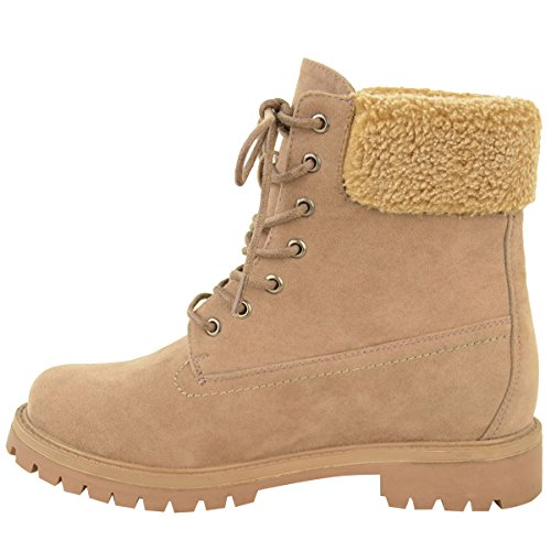 Fashion Thirsty Womens Faux Fur Grip Sole Winter Warm Ankle Boots Sneakers Trainers Shoes Size Mocha Brown Faux Suede irIYC5Qjf