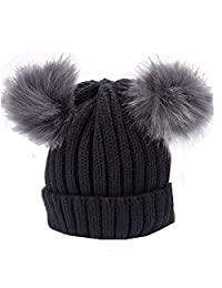 YQWEL Women's Winter Chunky Knit Beanie Hat w/Double Pompom Ears