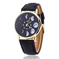 pinminghui Magical Moon Phase Astronomy Watch Leather Quartz Unisex Wrist Watch