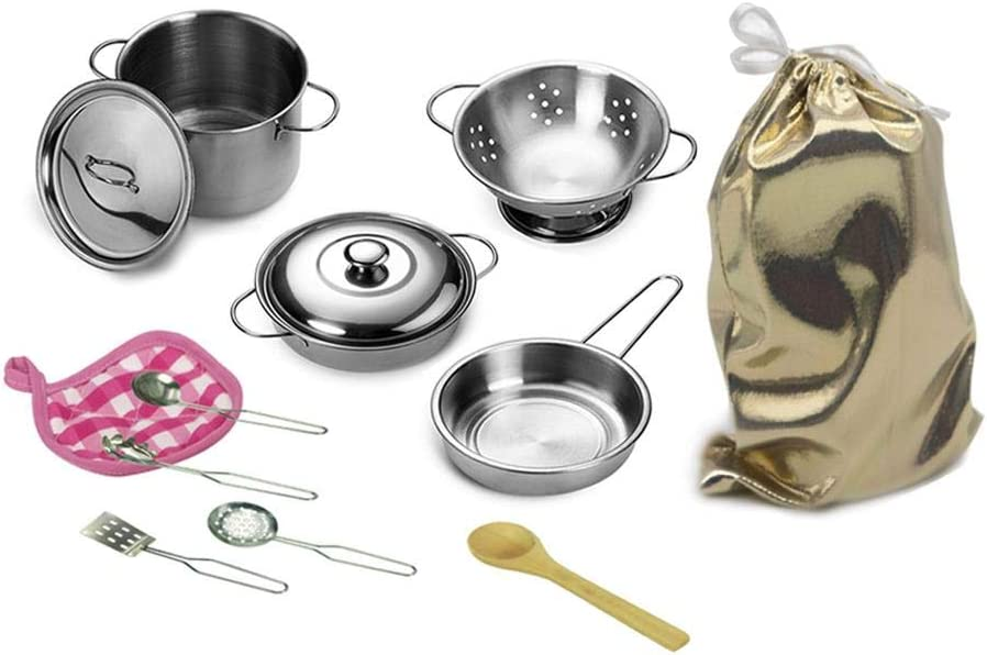 12 Pcs Kitchen Toys Set Pretend Play Accessories with Stainless Steel Cookware Pots and Pans Set Toy Pan Set Educational Toys Fruit and Vegetables Cutting Set for Kids Girls Boys Toddlers