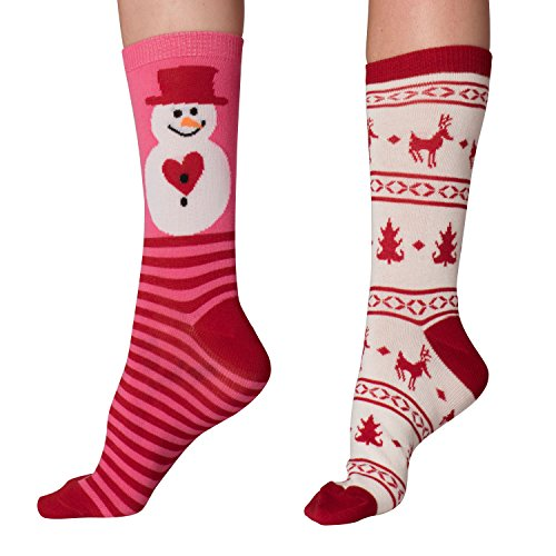 Mens & Womens Fun Novelty Holiday Halloween Xmas Socks- One Size Fits Most (One Size Fits Most (Shoe-4-10), Christmas 2PK Crews-Pink Snowman/White-Red Festive) - Pink Snowman
