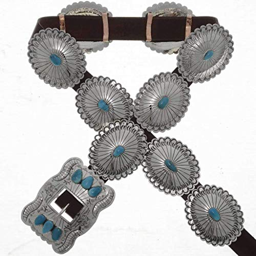 Sleeping Beauty Turquoise Concho Belt Navajo Hammered Silver 1002
