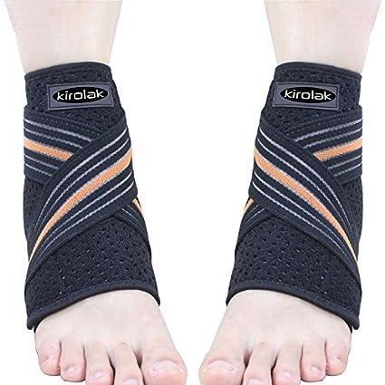 KIROLAK Ankle Support Respirable Tobillo Manga con Ajustable Wraps Ankle Brace Soporte Protector para Corredor de Baloncesto y Alivio del Dolor Esguince - Conjunto de 2 piezas
