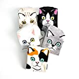 Womens Novelty Best Socks Gift Idea for Cartoon Animal Lover, Cat Socks(Color: Kiss Cats 5 Pairs)One Size Fit Most