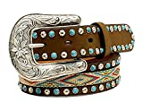 girls cowgirl belt - Nocona Girl's Western Ribbon Inlay Belt, Medium Brown Distressed, 24
