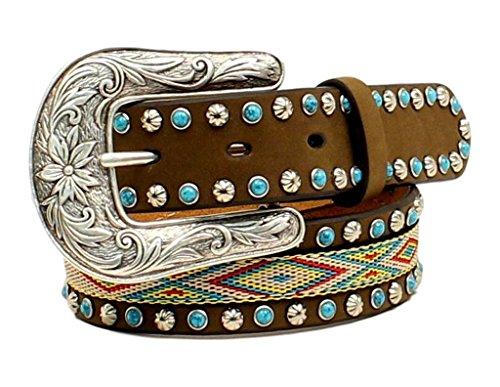 Nocona Girl's Western Ribbon Inlay Belt, Medium Brown Distressed, 24