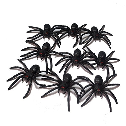 DORABO 20PCS Halloween Spiders Small Plush Toy Party Favors Fake Toy Crepy Spiders for Haunted House Prop Indoor Outdoor Yard Halloween Decor 4CM (Black)