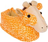 Silver Lilly Giraffe Slippers - Plush Animal Slippers w/Comfort Foam Support by (Orange & White, Medium)