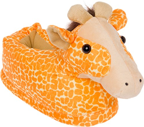 Silver Lilly Giraffe Slippers - Plush Animal Slippers W/Comfort Foam Support by (Orange & White, X-Large) (Silver Slipper)