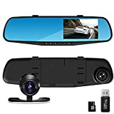"""THINK SOGOOD 4.3"""" LCD HD 1080P Car Video Camera   Driving Recorder with Dual Lens for Vehicles Front & Rear View Mirror   Dash Cam with 170° Wide Angle Lens and 8G Micro SD Card"""
