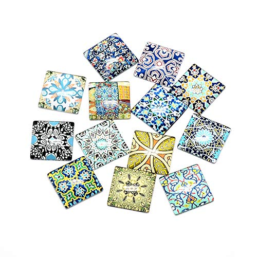 ARRICRAFT 100pcs Mosaic Printed Glass Cabochons 25mm Glass Square Flat Cabochon Beads for Crafting DIY Jewelry Making ()