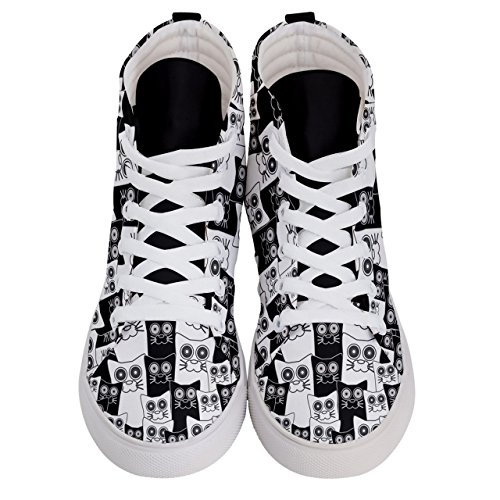 CowCow US10 Womens Sizes Full Face Cat US5 Hi Skate Black Themes amp; 5 Sneakers Fashion Funny White Top OrOfHq