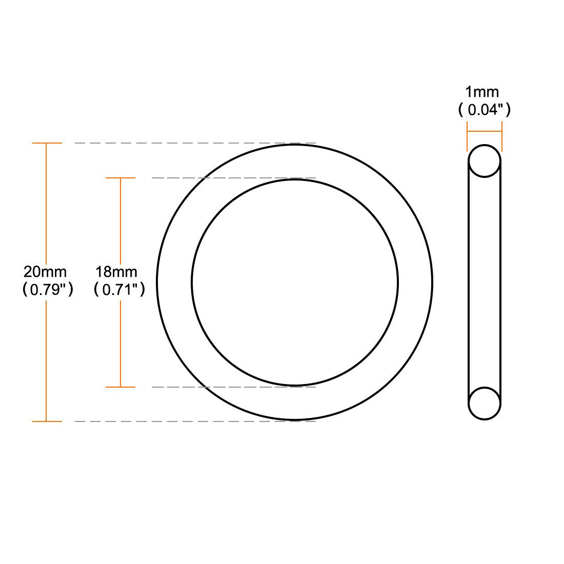 sourcing map 30Pcs Joint torique NBR caoutchouc nitrile-butadi/ène 18mm Dia Int 1mm Large