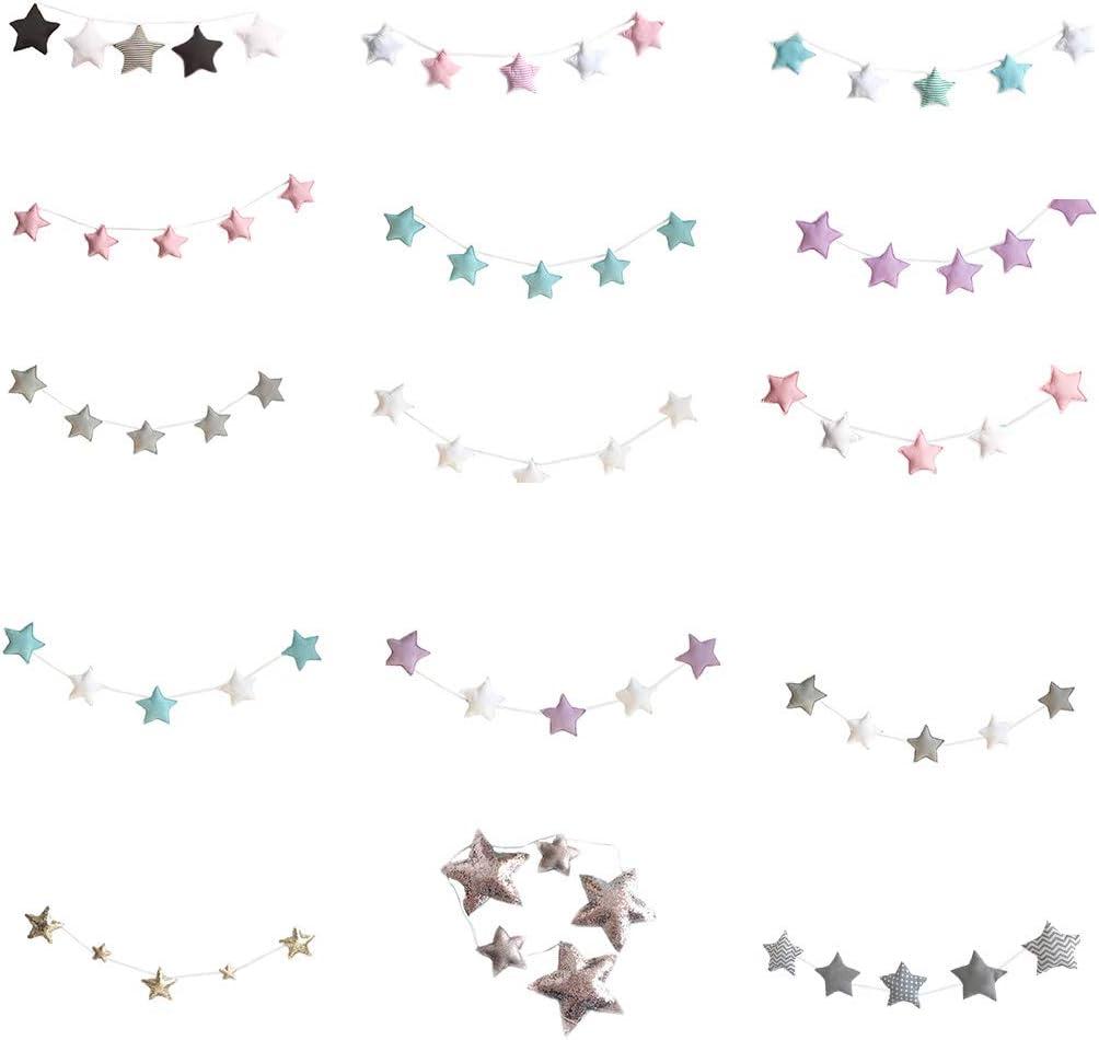 Set del beb/é del Cuarto de ni/ños de Estrellas para ni/ños guirnaldas de Navidad Decoraciones de Pared de la Sala apoyos de la fotograf/ía Los Mejores Regalos Junecat Sala de 5pcs