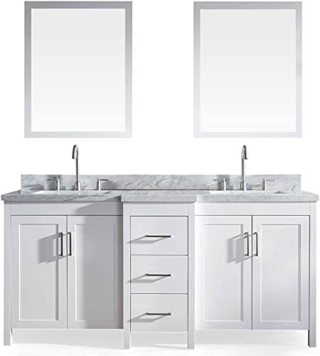 ARIEL Hollandale E073D-WHT 73 inch Solid Wood Double Sink Bathroom Vanity Set In White with White Carrara Marble Countertop and Mirror s